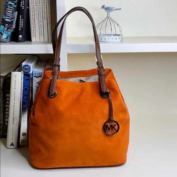 Michael Kors Handbags - Michael Kors Orange Suede Tall Tote Bag